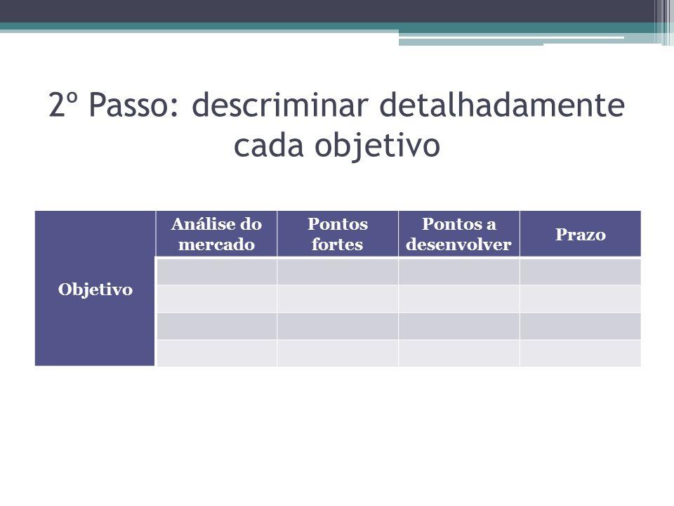 2º Passo: descriminar detalhadamente cada objetivo