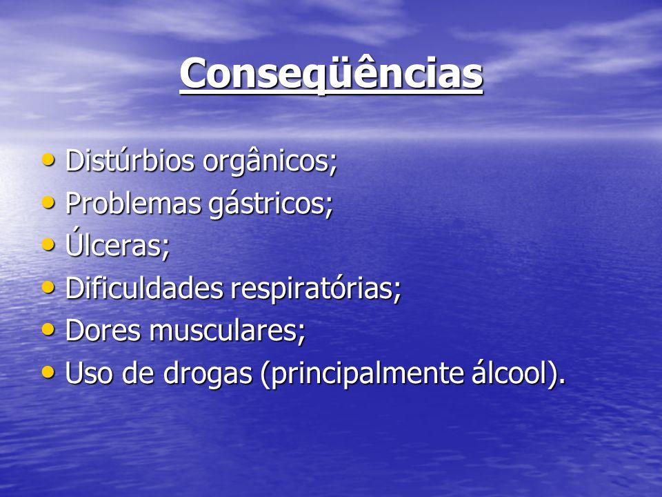 Conseqüências Distúrbios orgânicos; Problemas gástricos; Úlceras;