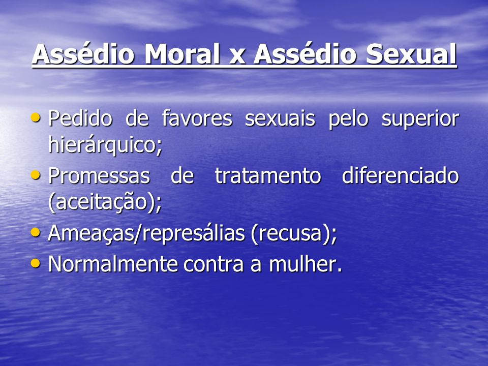Assédio Moral x Assédio Sexual