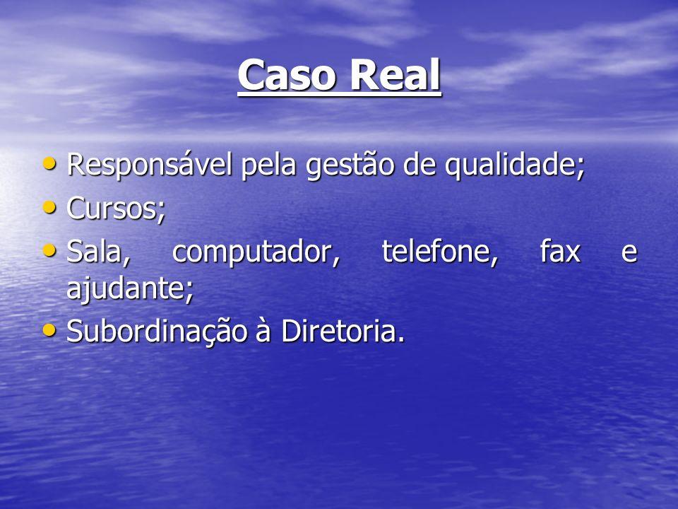 Caso Real Responsável pela gestão de qualidade; Cursos;