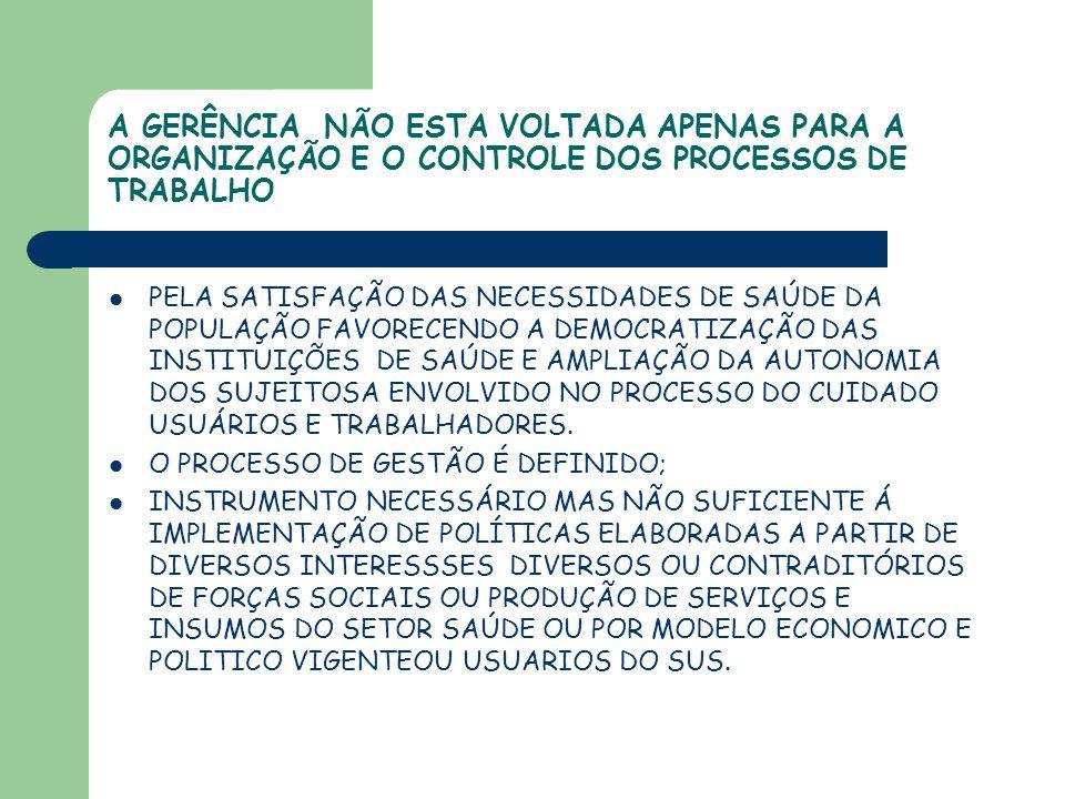 A GERÊNCIA NÃO ESTA VOLTADA APENAS PARA A ORGANIZAÇÃO E O CONTROLE DOS PROCESSOS DE TRABALHO