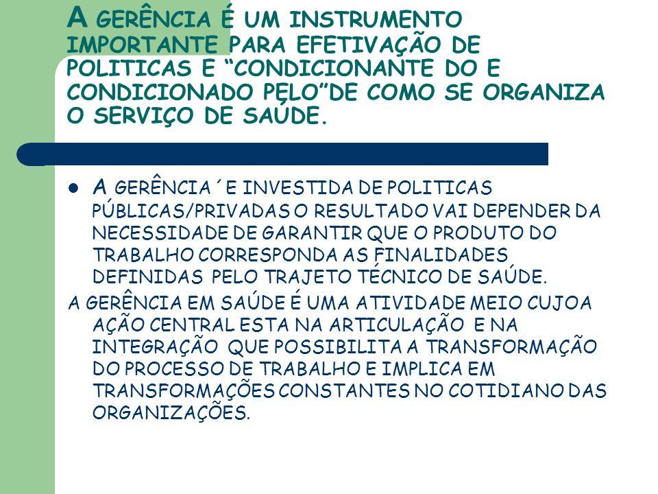 A GERÊNCIA É UM INSTRUMENTO IMPORTANTE PARA EFETIVAÇÃO DE POLITICAS E CONDICIONANTE DO E CONDICIONADO PELO DE COMO SE ORGANIZA O SERVIÇO DE SAÚDE.