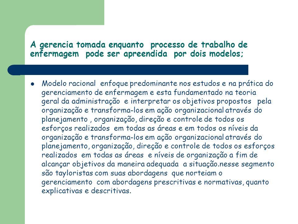 A gerencia tomada enquanto processo de trabalho de enfermagem pode ser apreendida por dois modelos;