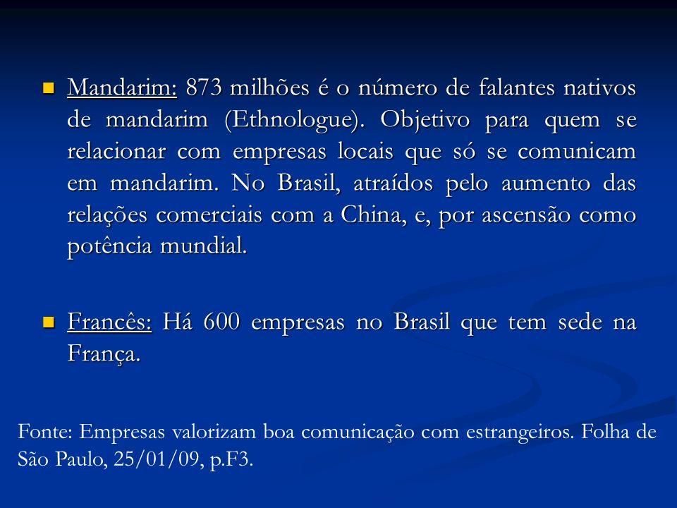 Francês: Há 600 empresas no Brasil que tem sede na França.
