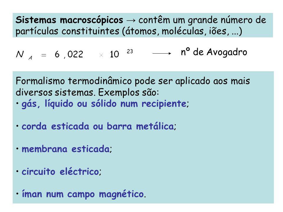 Sistemas macroscópicos → contêm um grande número de