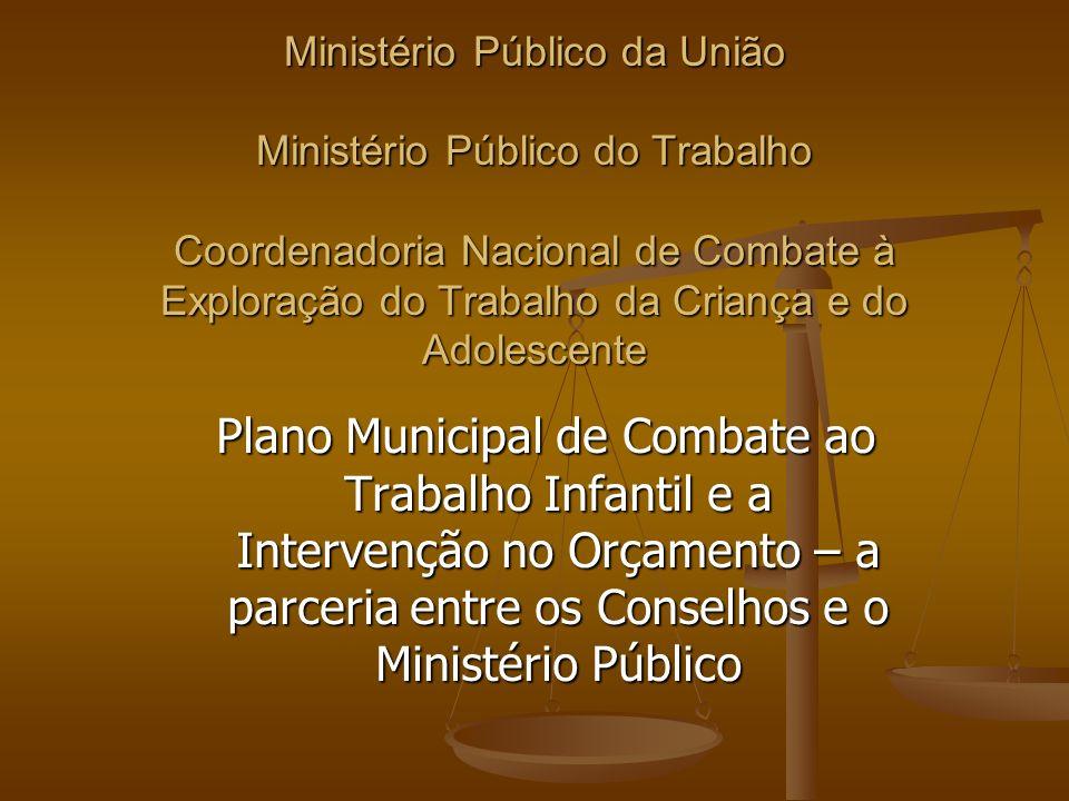 Ministério Público da União Ministério Público do Trabalho Coordenadoria Nacional de Combate à Exploração do Trabalho da Criança e do Adolescente