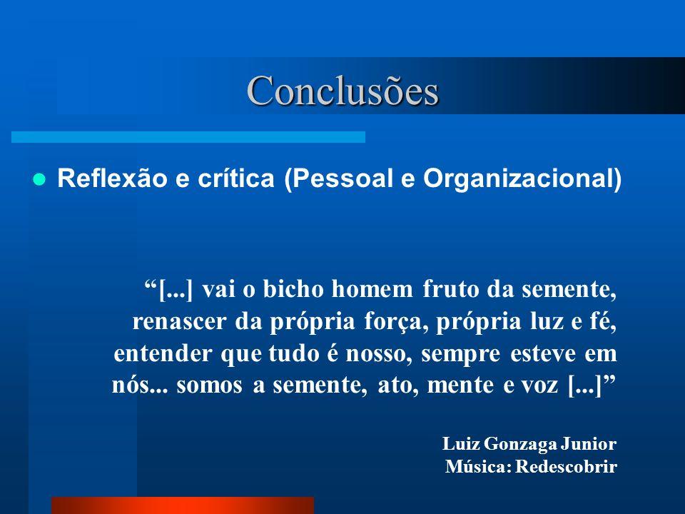 Conclusões Reflexão e crítica (Pessoal e Organizacional)