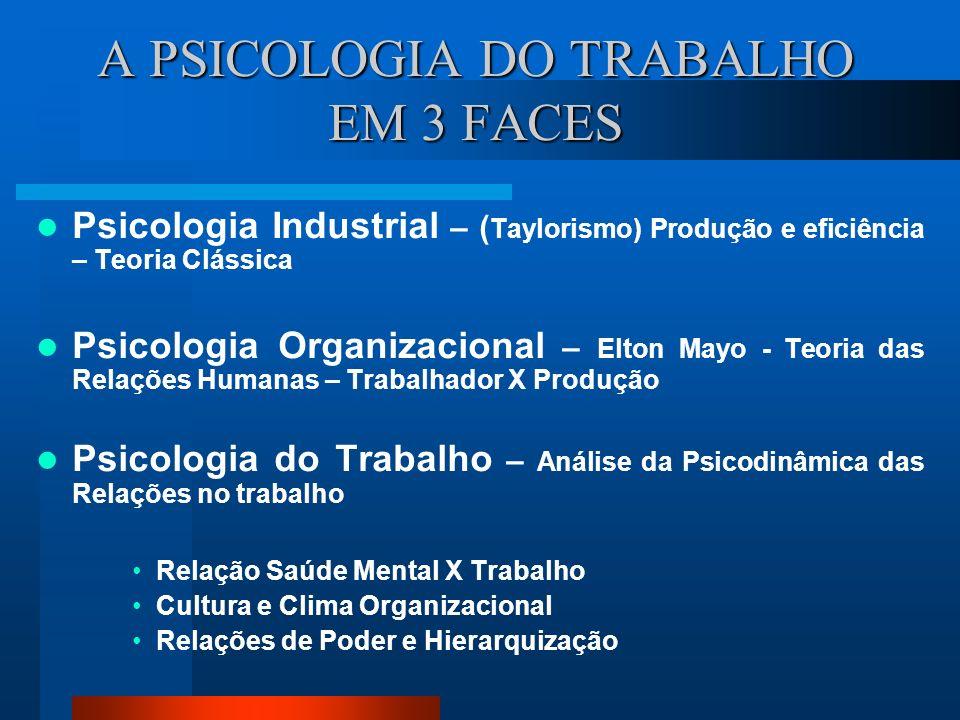 A PSICOLOGIA DO TRABALHO EM 3 FACES