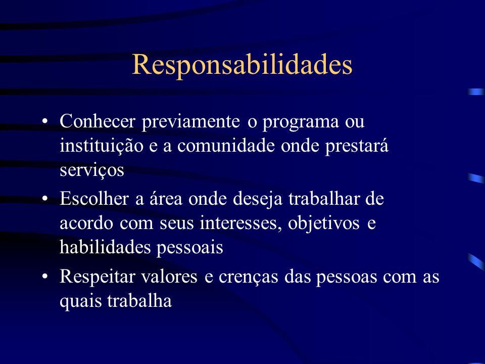 Responsabilidades Conhecer previamente o programa ou instituição e a comunidade onde prestará serviços.