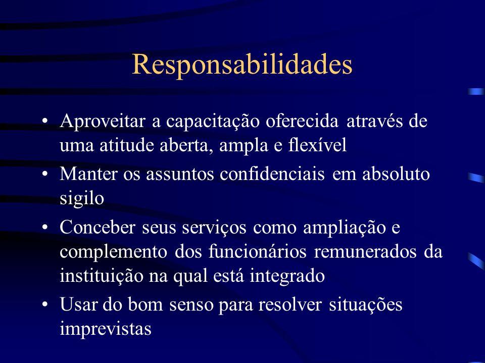 Responsabilidades Aproveitar a capacitação oferecida através de uma atitude aberta, ampla e flexível.