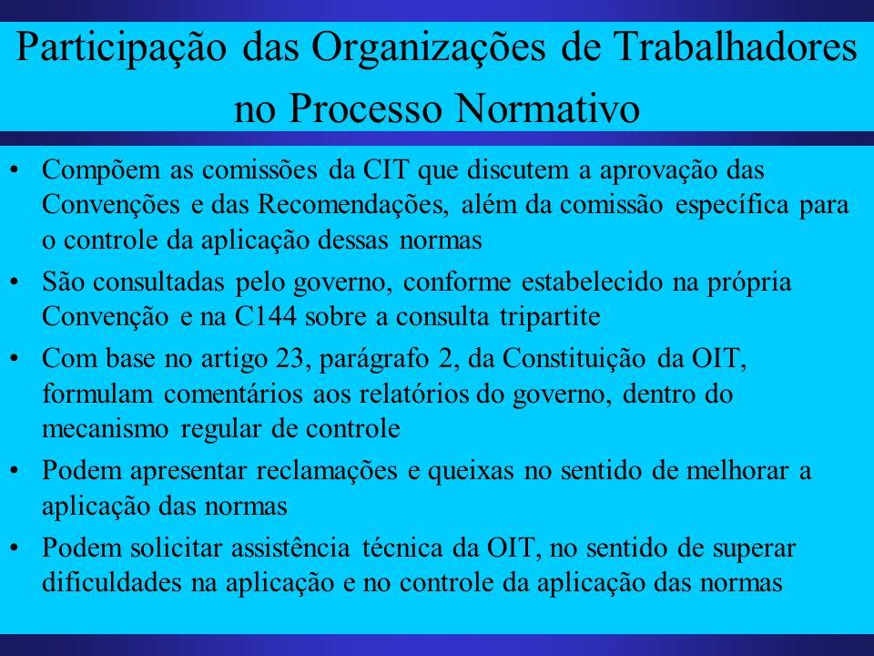 Participação das Organizações de Trabalhadores no Processo Normativo