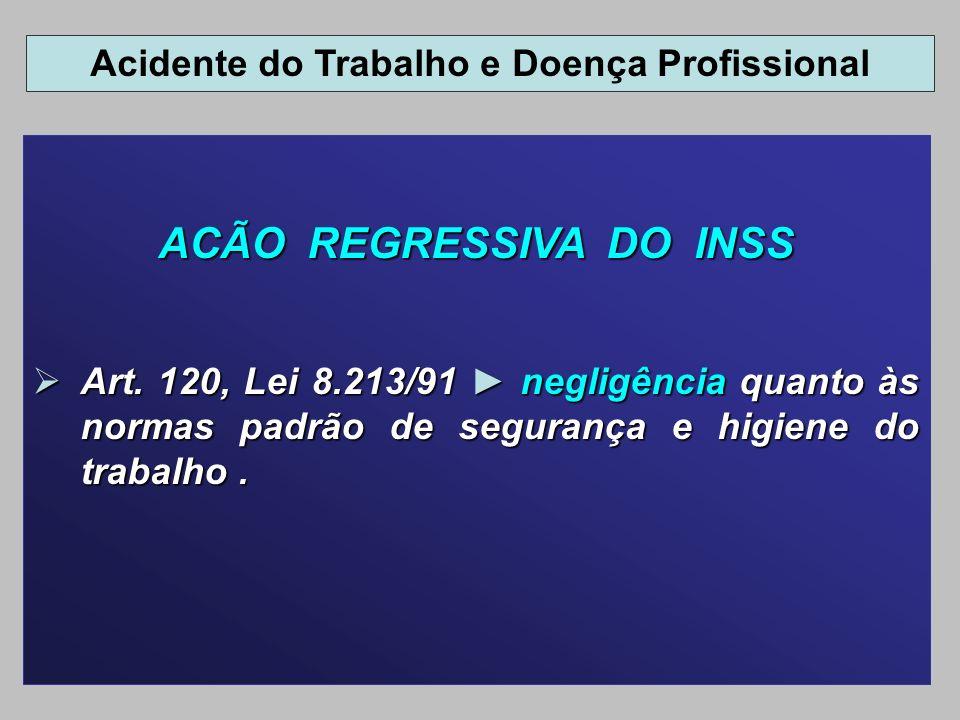 Acidente do Trabalho e Doença Profissional ACÃO REGRESSIVA DO INSS