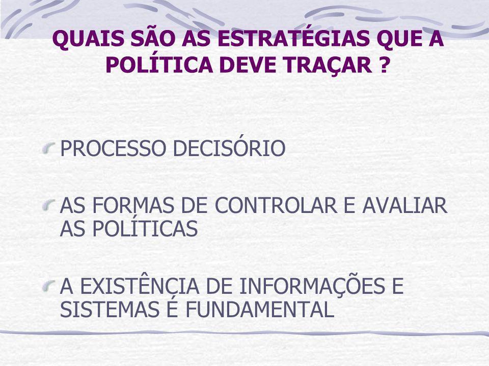 QUAIS SÃO AS ESTRATÉGIAS QUE A POLÍTICA DEVE TRAÇAR
