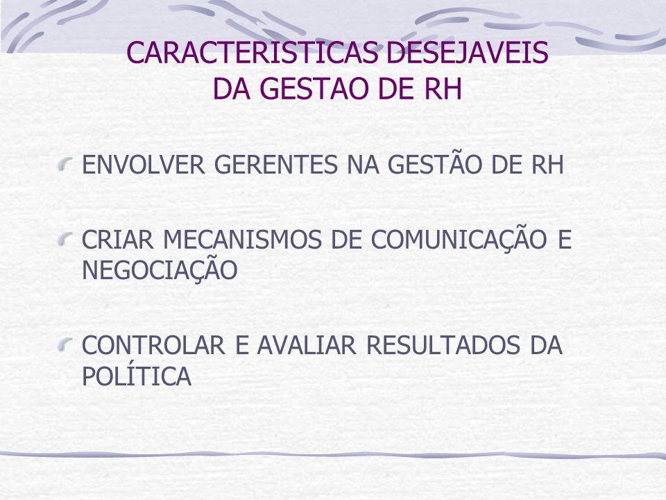CARACTERISTICAS DESEJAVEIS DA GESTAO DE RH