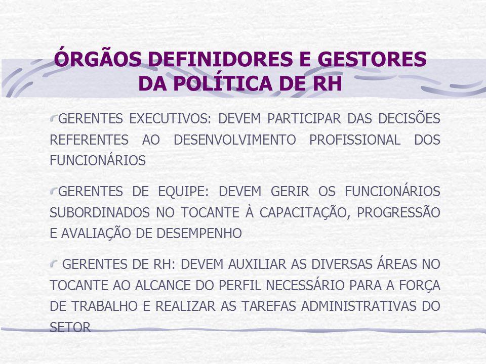 ÓRGÃOS DEFINIDORES E GESTORES DA POLÍTICA DE RH