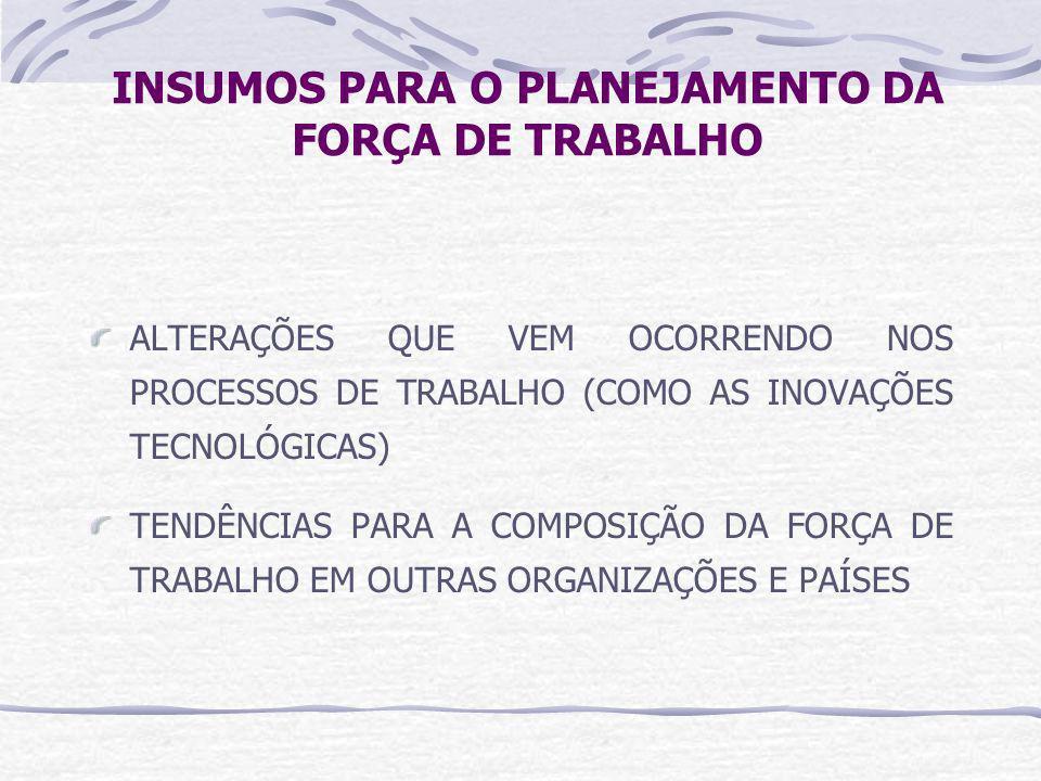 INSUMOS PARA O PLANEJAMENTO DA FORÇA DE TRABALHO