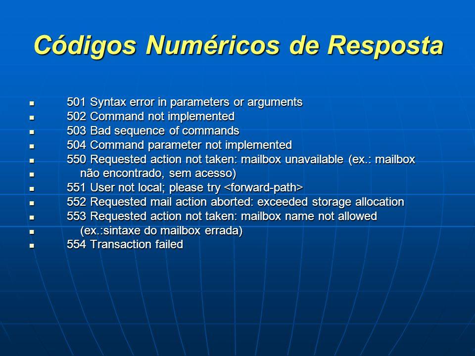 Códigos Numéricos de Resposta