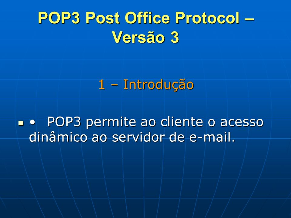 POP3 Post Office Protocol – Versão 3