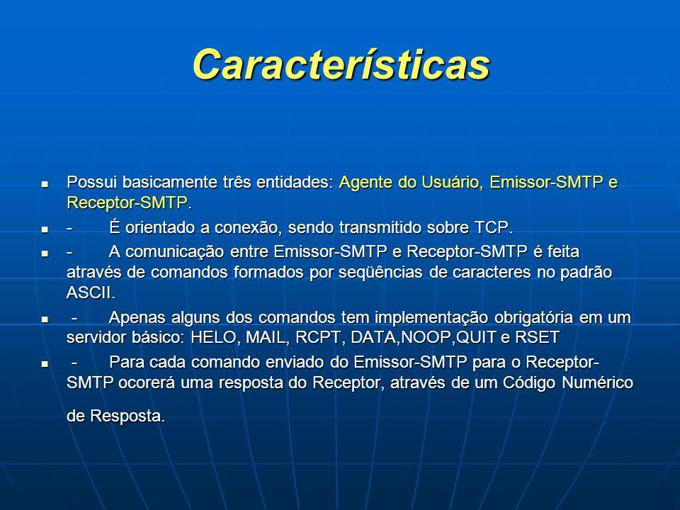 Características Possui basicamente três entidades: Agente do Usuário, Emissor-SMTP e Receptor-SMTP.