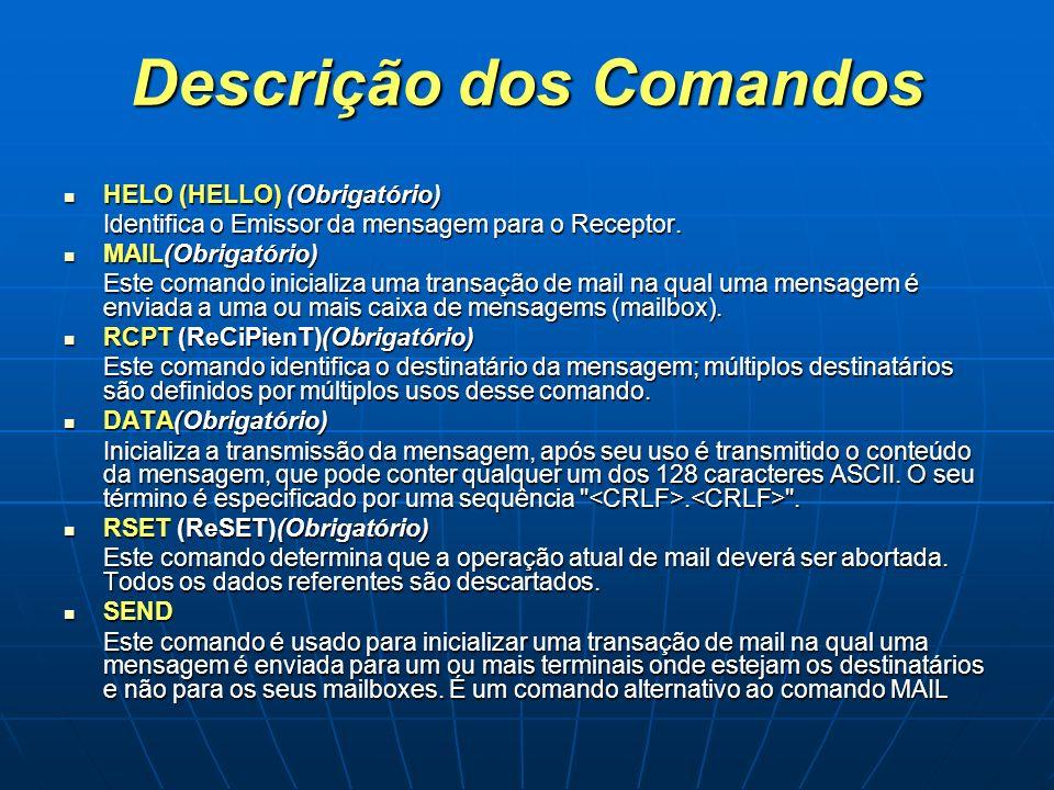 Descrição dos Comandos