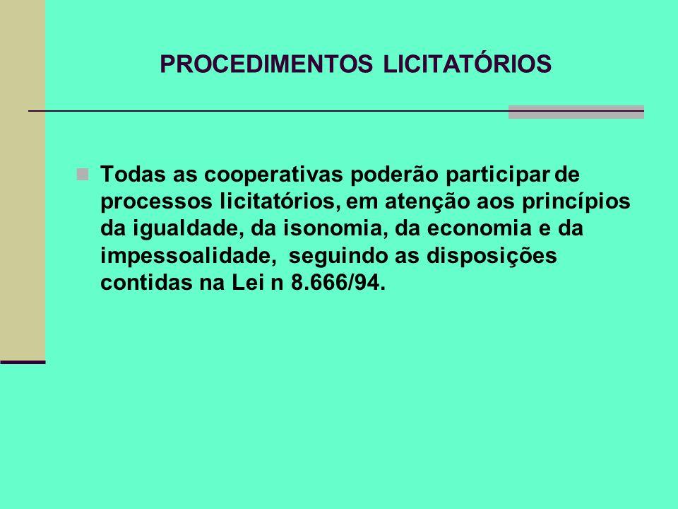 PROCEDIMENTOS LICITATÓRIOS
