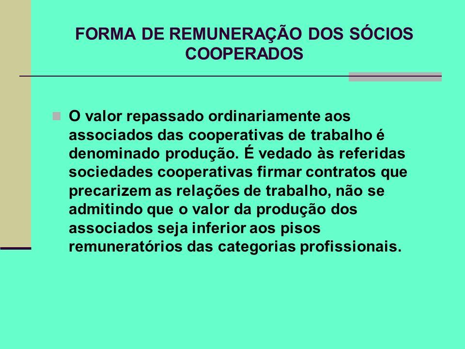 FORMA DE REMUNERAÇÃO DOS SÓCIOS COOPERADOS