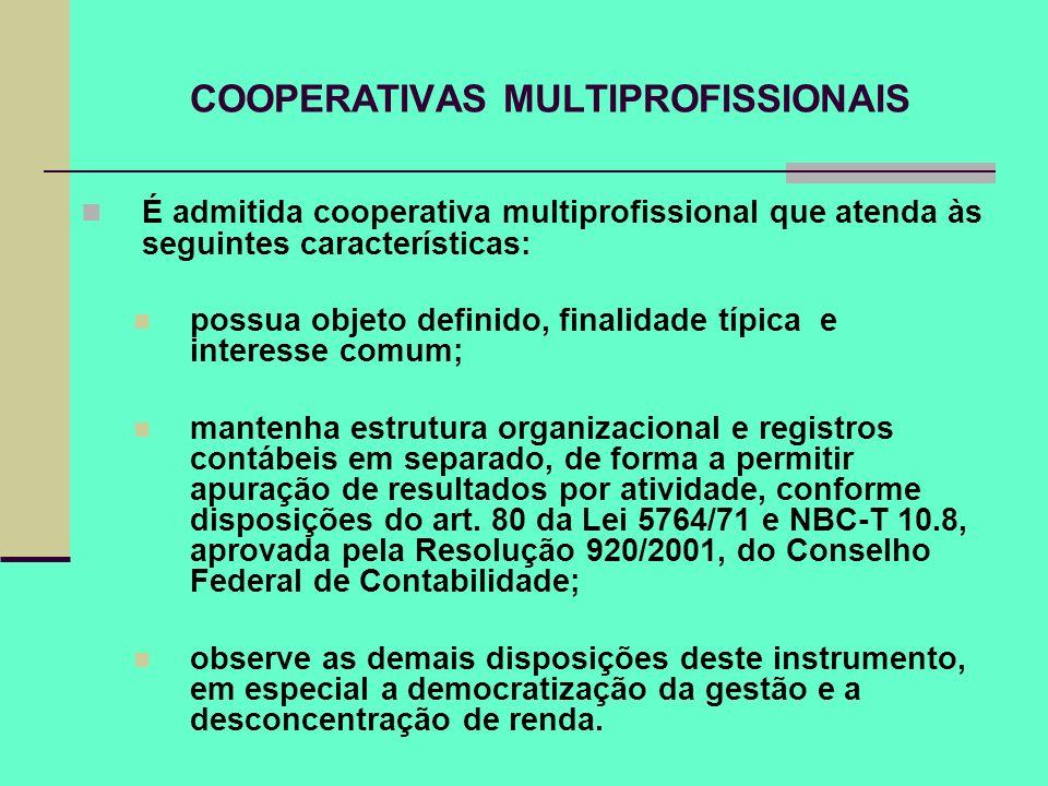 COOPERATIVAS MULTIPROFISSIONAIS