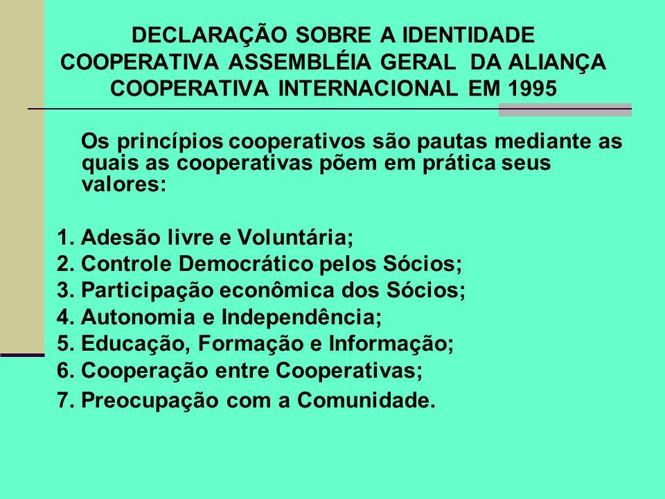 DECLARAÇÃO SOBRE A IDENTIDADE COOPERATIVA ASSEMBLÉIA GERAL DA ALIANÇA COOPERATIVA INTERNACIONAL EM 1995