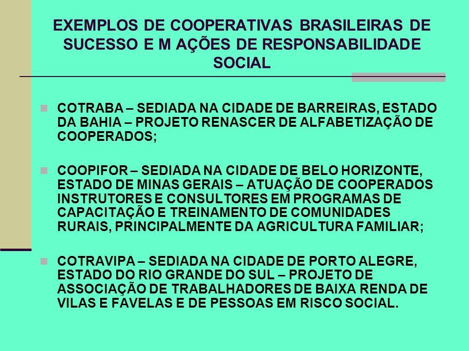 EXEMPLOS DE COOPERATIVAS BRASILEIRAS DE SUCESSO E M AÇÕES DE RESPONSABILIDADE SOCIAL