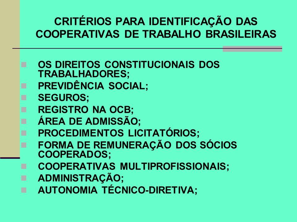 CRITÉRIOS PARA IDENTIFICAÇÃO DAS COOPERATIVAS DE TRABALHO BRASILEIRAS
