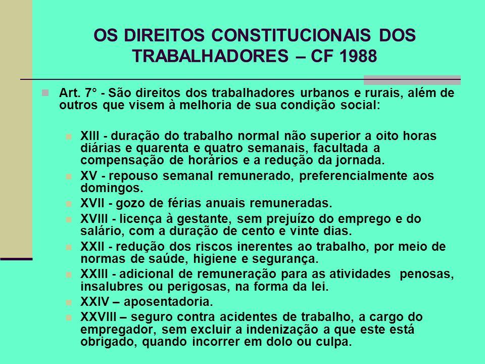 OS DIREITOS CONSTITUCIONAIS DOS TRABALHADORES – CF 1988