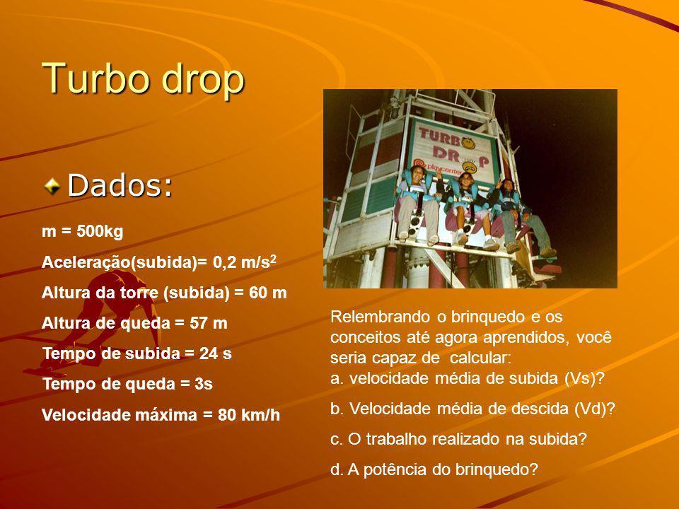 Turbo drop Dados: m = 500kg Aceleração(subida)= 0,2 m/s2