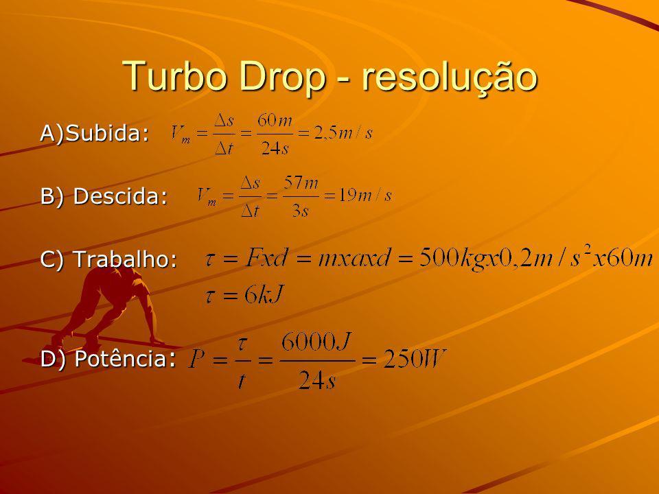 Turbo Drop - resolução A)Subida: B) Descida: C) Trabalho: D) Potência: