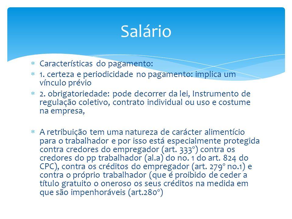 Salário Características do pagamento: