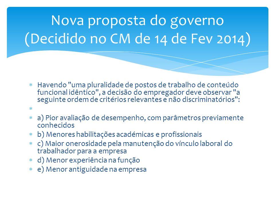 Nova proposta do governo (Decidido no CM de 14 de Fev 2014)