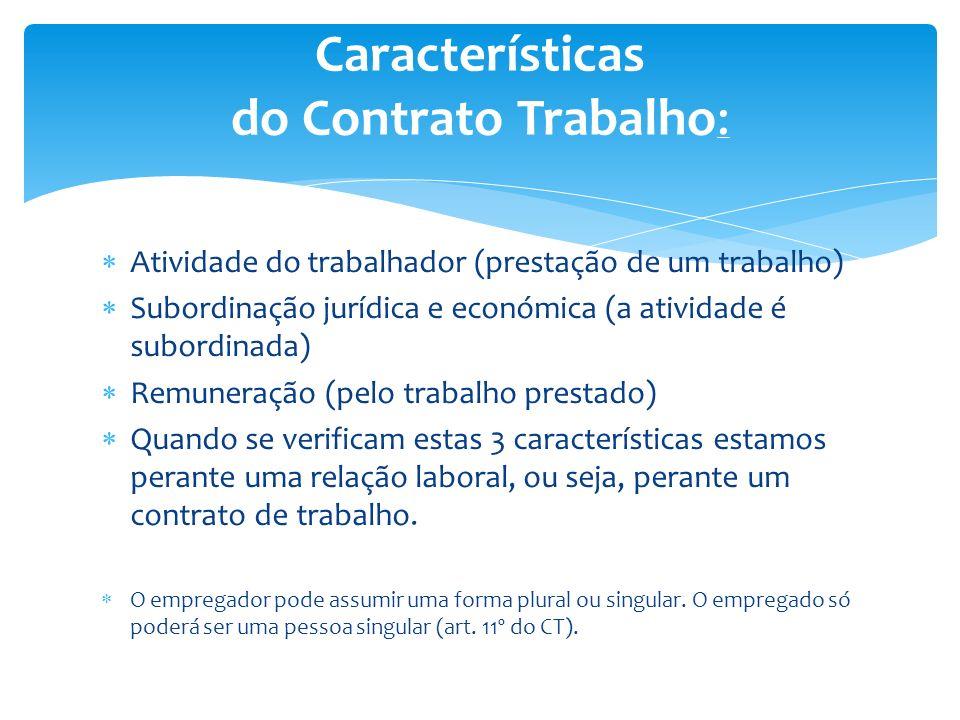 Características do Contrato Trabalho: