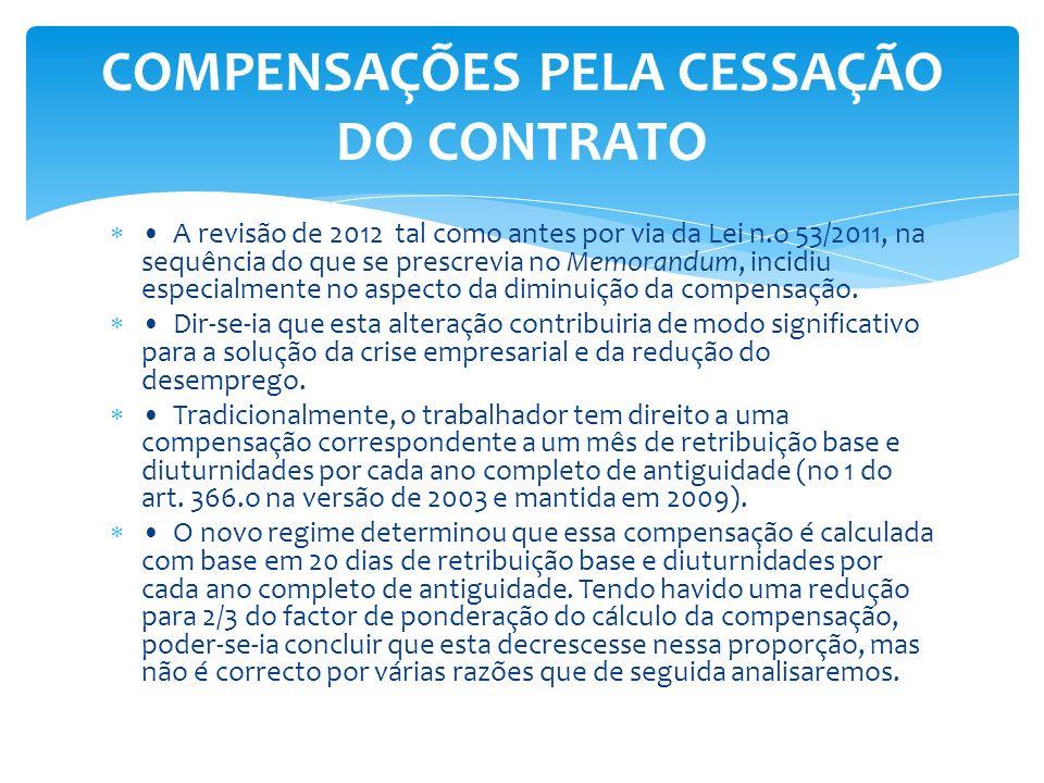 COMPENSAÇÕES PELA CESSAÇÃO DO CONTRATO