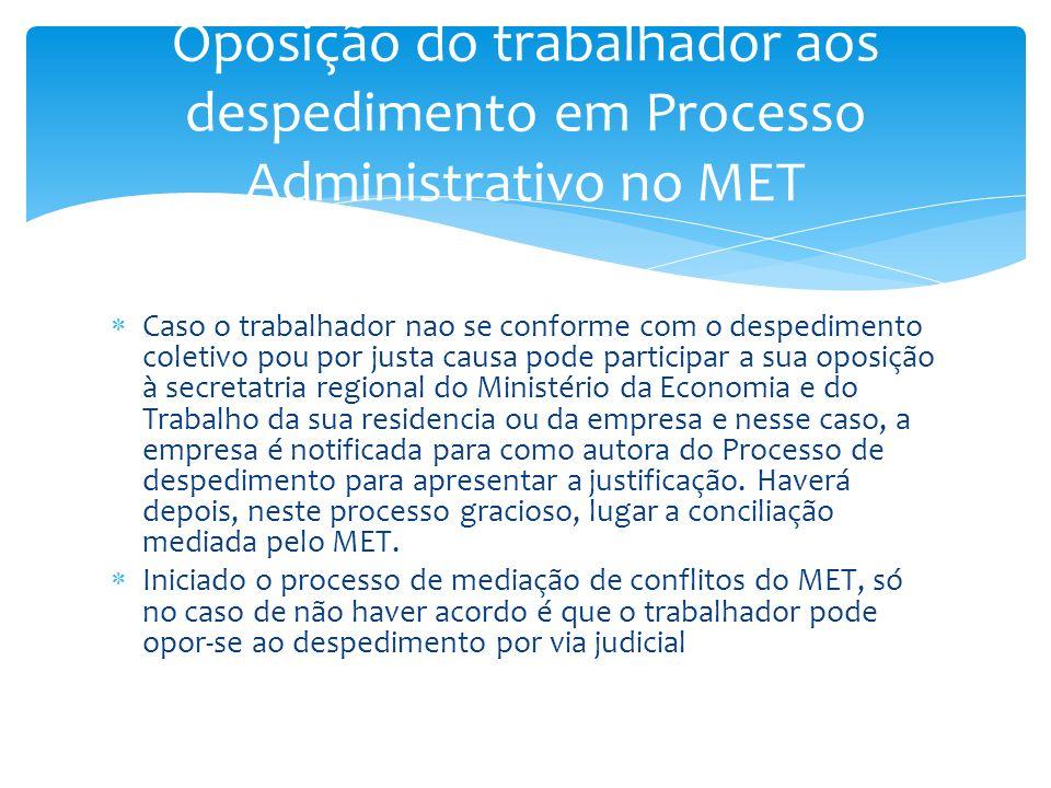 Oposição do trabalhador aos despedimento em Processo Administrativo no MET