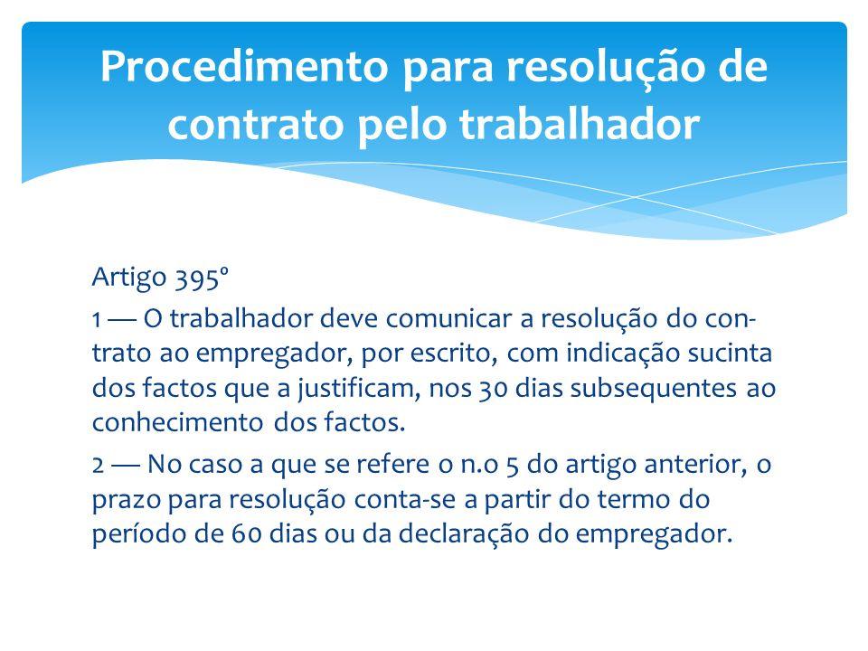 Procedimento para resolução de contrato pelo trabalhador