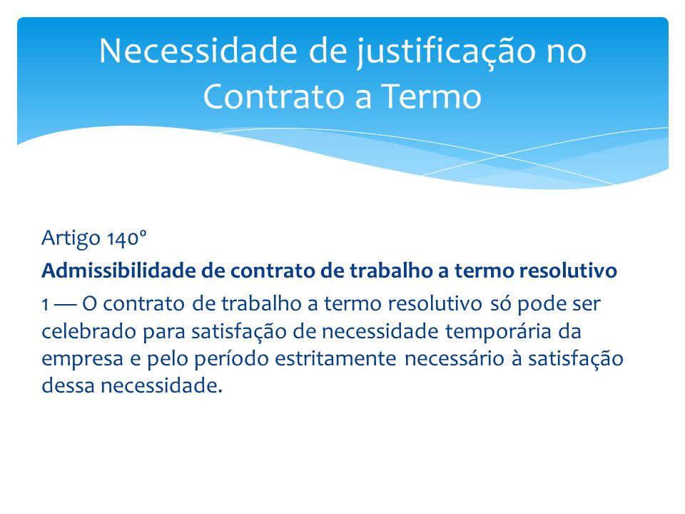 Necessidade de justificação no Contrato a Termo