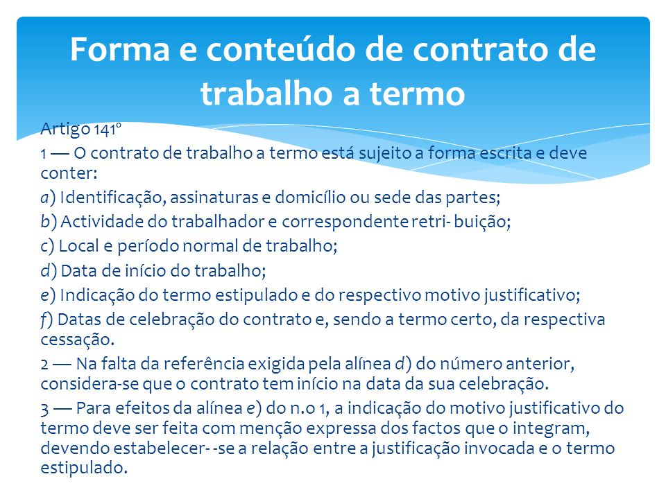 Forma e conteúdo de contrato de trabalho a termo
