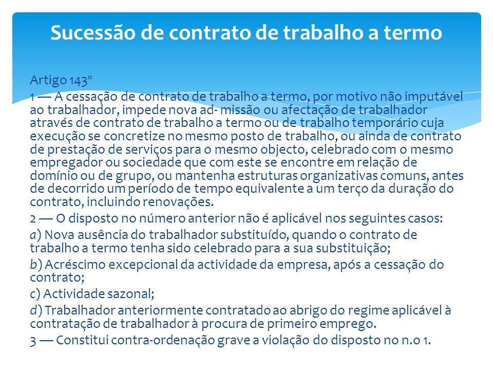 Sucessão de contrato de trabalho a termo