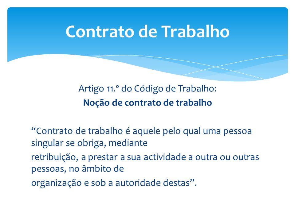 Contrato de Trabalho Artigo 11.º do Código de Trabalho: