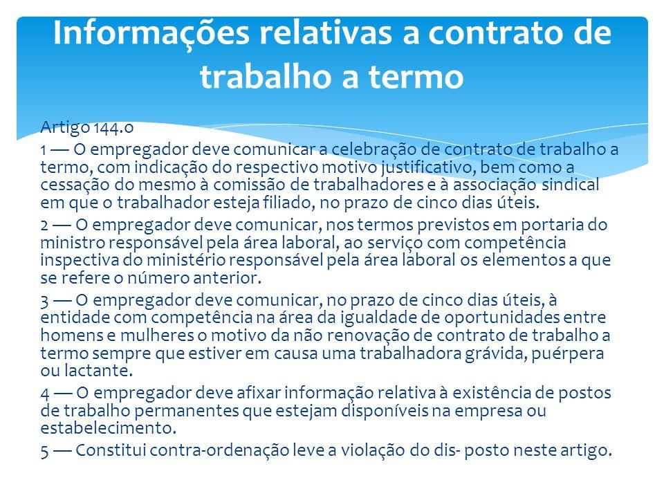Informações relativas a contrato de trabalho a termo