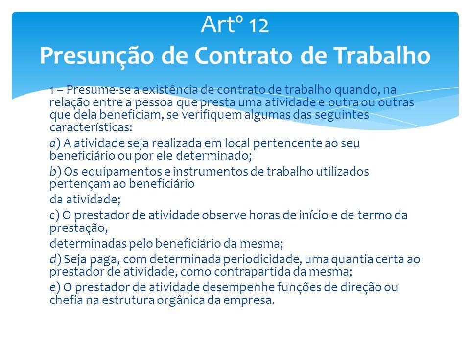 Artº 12 Presunção de Contrato de Trabalho