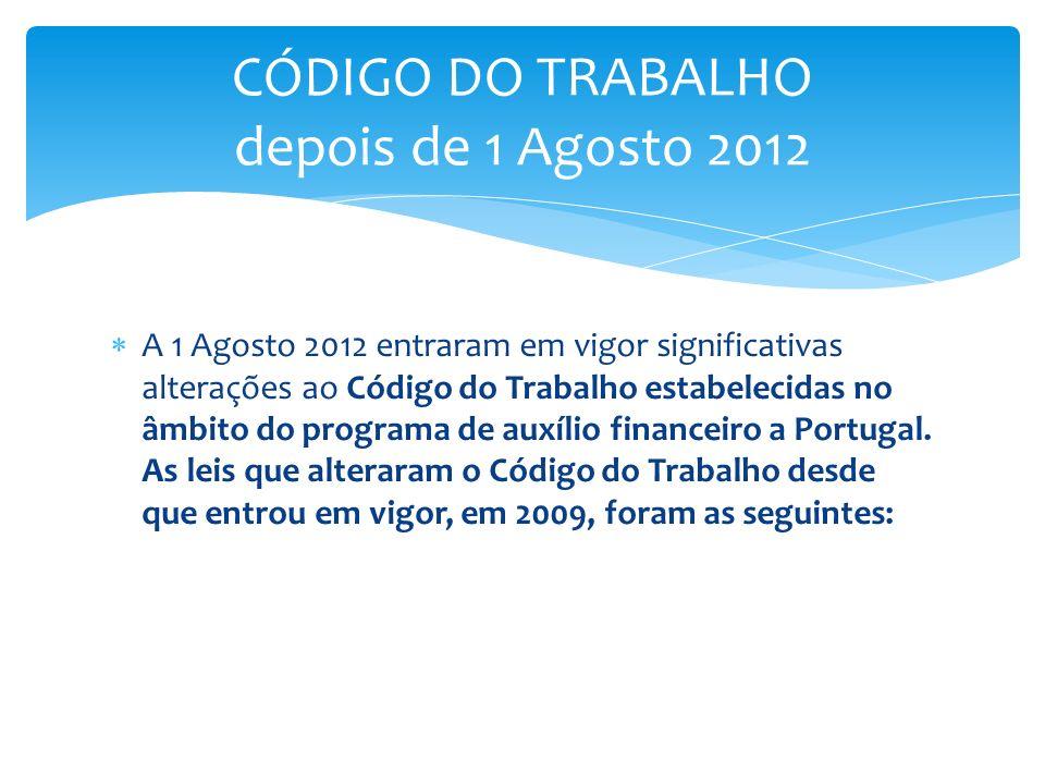 CÓDIGO DO TRABALHO depois de 1 Agosto 2012