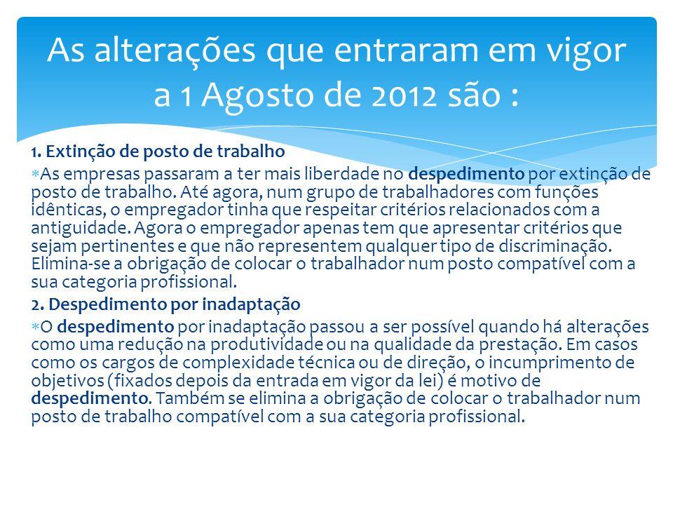 As alterações que entraram em vigor a 1 Agosto de 2012 são :