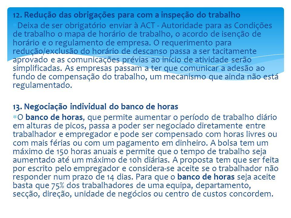 12. Redução das obrigações para com a inspeção do trabalho