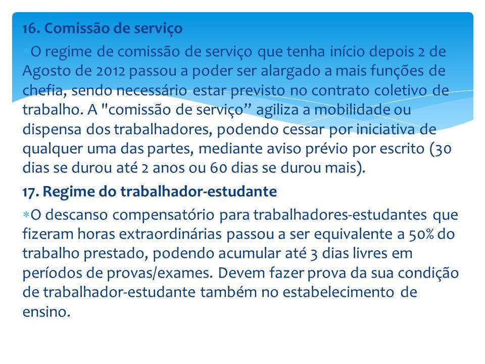 16. Comissão de serviço