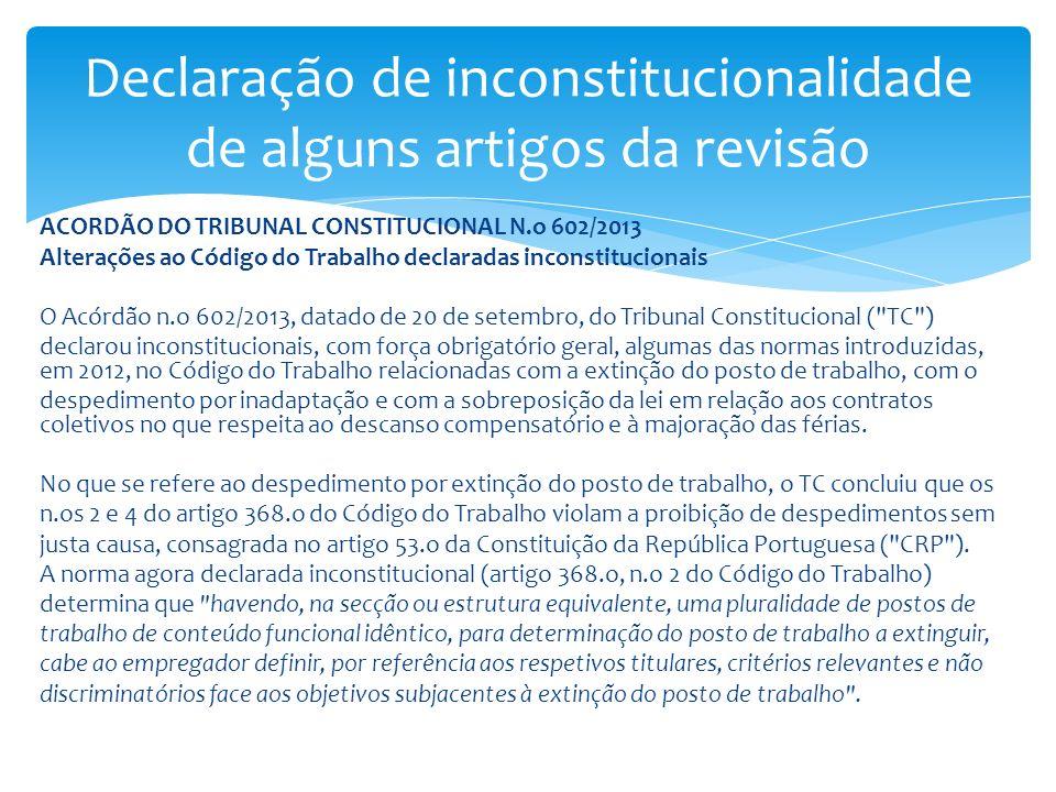 Declaração de inconstitucionalidade de alguns artigos da revisão